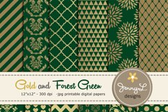 Gold and Forest Green Digital Papers Product Image 1