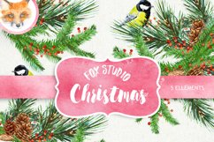 Christmas Birds Tit. Watercolor Bouquets and Wreaths, Merry Product Image 1
