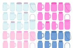 Pink and Navy Mason Jar Wedding Clipart Product Image 3