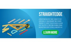 Straightedge concept banner, isometric style Product Image 1