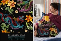 Embroidery style asian dragon and flowers Product Image 1