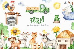 Farm Watercolor Clipart. Cards, frames, seamless patterns Product Image 1