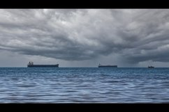 Close-up of the seascape. Blue sea and cargo ships. 3pcs Product Image 3
