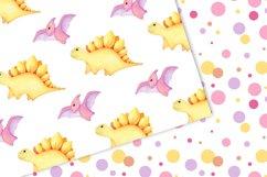 Watercolor Dinosaur Patterns, Cute Dinosaur Digital Papers Product Image 4