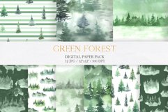Watercolor Green Fores Digital Papers Product Image 1