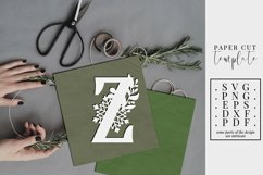 Winter letter Z, single initial paper cut, snowflakes SVG Product Image 1