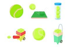 Tennis ball icon set, cartoon style Product Image 1