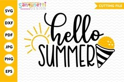 Hello summer svg with snowcone and sunshine Product Image 2