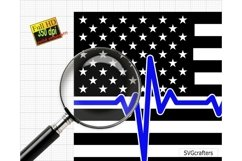Heartbeat American Flag SVG, Police SVG, Back the blue svg Product Image 3