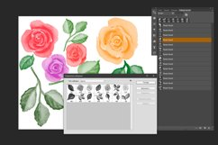 Watercolor roses flowers and leaves Photoshop Brushes Product Image 2