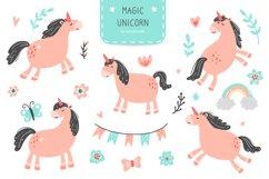 Magic Unicorn Digital Clipart, kids illustration, PNG, SVG Product Image 1