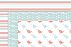 Pastel Valentine's Day Digital papers, Valentine Hearts,  Baby Baptism, Love Birds Clipart, Scrapbooking Paper Product Image 2