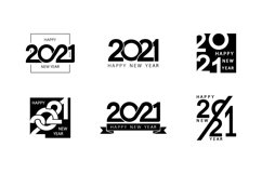 Collection of 2021 Happy New Year signs. Greeting card Product Image 1