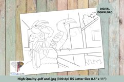 The Hornbill Sitting on the Boundary Intricate Coloring Page Product Image 1