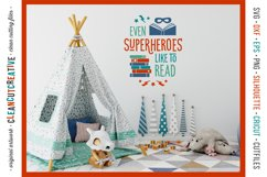 Even SUPERHEROES like to READ! - Cricut Silhouette cut file Product Image 2