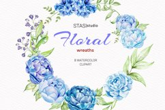 Blue Peonies Floral Frames, Watercolor Blue Bouquets Product Image 1