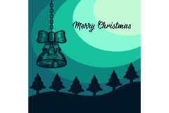 Merry Christmas Background, with glitter and fir tree, Bell. Product Image 1