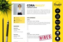 Legal Resume CV Template for Word & Pages Cora Bailey Product Image 1