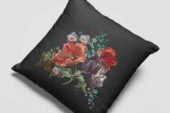 Embroidery style violet flowers and red poppies Product Image 2
