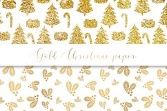 Gold Christmas digital paper, seamless pattern Product Image 5