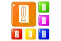Vertical door icons set vector color Product Image 1