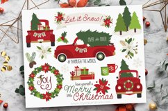 Vintage Red Christmas Truck Clipart - Vector Clip Art & SVG Product Image 1
