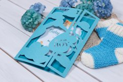 Baby Shower Invitation with a Stork, Welcome our Little Boy Product Image 2