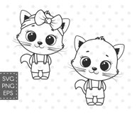 Cute Cat clipart, boy and girl, PNG, SVG, EPS Product Image 3