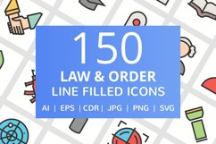 150 Law & Order FIlled Line Icons Product Image 1