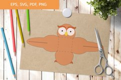 Cute Owl Gift Box Template SVG, Gift Box SVG Product Image 1