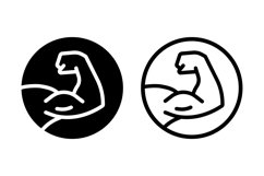 Muscle icon logo. Strong hand icon. Bodybuilding and fitness Product Image 1