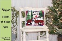 Christmas Penguins Red Truck Sublimation Product Image 1