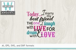 Wedding SVG - Today I Marry My Best Friend Product Image 2