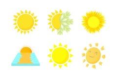 Sun icon set, cartoon style Product Image 1