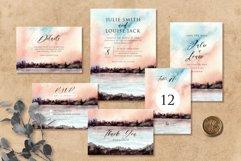 Sunset Lake Watercolor Wedding Invitation Set Product Image 1
