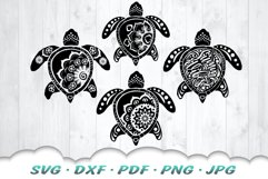 Mandala Sea Turtle SVG DXF Cut Files Bundle Product Image 3