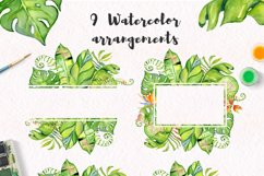 Tropical leaves Watercolor clipart Product Image 6