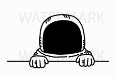 Astronaut Peeping and saying hello - SVG/JPG/PNG Hand Drawing Product Image 1