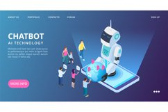 Chatbot landing page. Artificial intelligence vector web ban Product Image 1
