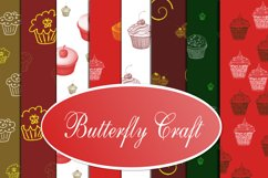 Cupcake Digital Papers, Tea Time Papers, Muffins digital Product Image 1