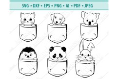 Animals in pocket Svg, Cute pet Svg, Baby Pets Dxf, Png, Eps Product Image 1