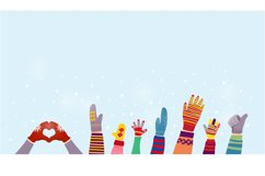 Gloves and winter snow background with snowflakes. Product Image 1