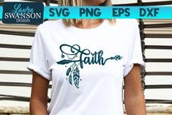 Faith SVG Cut File | Boho Arrow Feathers SVG Product Image 1