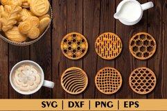Bundle of Decorative Circle Coasters. Coaster SVG. Laser cut Product Image 3