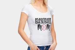 Baseball Mom and ball silhouettes. Hand drawn typography design. SVG DXF PNG EPS Cutting Files Product Image 4