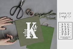 Winter letter K, single initial paper cut, snowflakes SVG Product Image 1