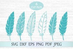 Feather svg, Zentangle feather svg, Feather mandala svg Product Image 1