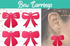 Bow Earrings SVG, Ribbon Earrings svg template, bow svg Product Image 6