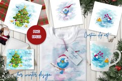 Fancy winter birds. Stickers, clipart. Product Image 2