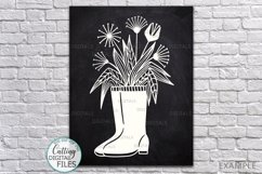 Flowers Wellies Rain boots svg dxf laser paper cut out files Product Image 1